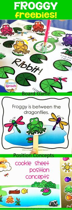 FREE! Hop to Speech Sprouts for 3 Spring freebies- Where's Froggy? positional concepts cards, Following directions cookie sheet activity and Ribbet! An Open-ended board game. www.speechsprouts...