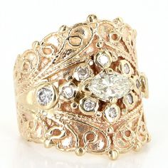 Vintage 14 Karat Yellow Gold Diamond Etruscan Wide Band Cigar Ring Fine Jewelry $1895