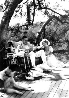 Colin Clive and Mae Clarke take five at a rare location outing for Frankenstein, shot between August 21 and October 3, 1931. Note the microphone hanging overhead.
