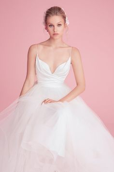 d705b05fffdc Style 1856 Olympia Blush by Hayley Paige bridal gown - Ivory crepe and  tulle ball gown, draped cross over bodice with curved V-neckline, full  tulle skirt.