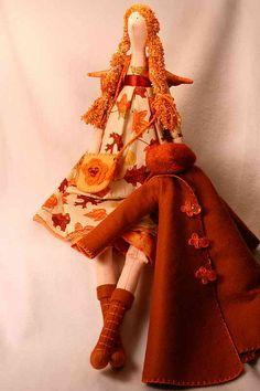 Куклы Тильды ручной работы. Ярмарка Мастеров - ручная работа Тильда Осенний ангел с косичками. Handmade.