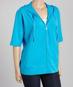 Another great find on #zulily! Blue Hawaiian Short-Sleeve Hoodie by Christine Alexander #zulilyfinds