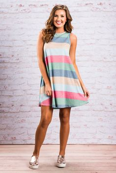 """""""Feeling Some Stripe-Of Way Dress, Blue-Red""""This striped dress has us feeling some type of way! It's so chill and causal/cute! #newarrival #shopthemint"""