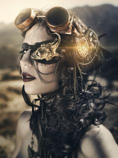 The girl with one eye by RebecaSaray.. #Steampunk #Girls #Woman #Gosstudio #Lady #SteampunkFashion .  ★ We recommend Gift Shop: http://www.zazzle.com/vintagestylestudio ★