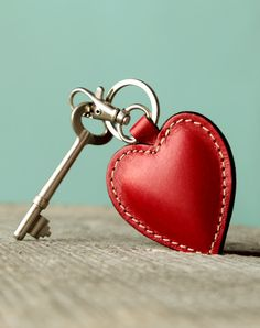 Cute keychain. Leather keychain. Red Heart. Womens by secondstudio