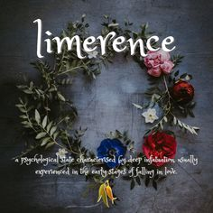 beautiful words from Macquarie Dictionary - limerence - a psychological state characterised by deep infatuation, usually experienced in the early stages of falling in love. Aesthetic Words, Infatuation, Beautiful Words, Falling In Love, Psychology, Floral Wreath, Blog, Knowledge, Language