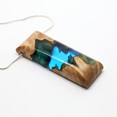 Resin Wood Necklace, Teal Resin necklace, Wood Resin Jewelry, Wood Necklace, One of a Kind, Unique necklace, Modern, unique gift for her