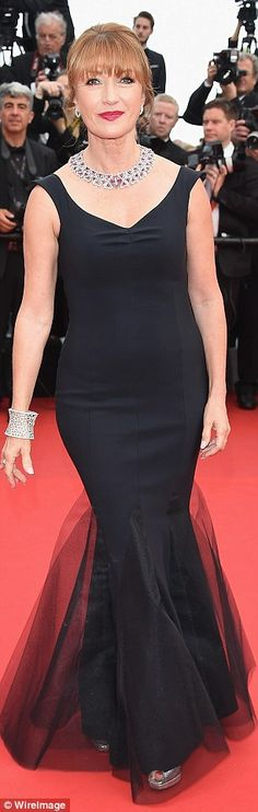 CANNES 2015 - MAY 14 - Jane Seymour wore her famous red locks up and in an elegant chignon as she took her turn in the spotlight