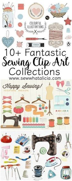10+ Fantastic Sewing Clip Art Collections | www.sewwhatalicia.com #sewing #clipart #sewingclipart