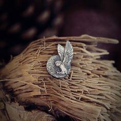 Mini sowa broszka pin ze srebra Silver, Money
