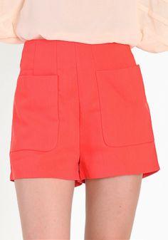 bright coral high waisted shorts