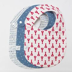 "Nautical Charlie Snap Bib SET in ""Cape"" featuring Red Lobsters + Rain + Denim Dots Nautical Nursery, Nautical Baby, Diaper Clutch, Wet Bag, Baby Gift Sets, Handmade Baby, Burp Cloths, Baby Bibs, Boy Outfits"