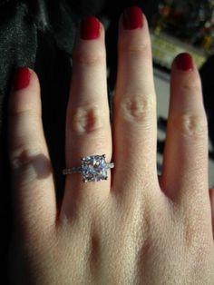 My beautiful 2+ carat cushion cut engagement ring :  wedding cushion cut rings Ring2