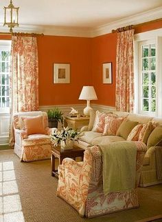 Absolutely Love The Hermes Orange Walls And Manuel Canovas Print Club Chairs Pillows Draperies In This Sitting Room By Terry Sullivan On I