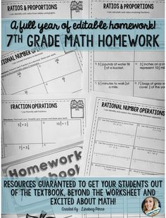 This resource 100% has you covered if you teach 7th grade math! Included are over 120 individual pages of homework enough to cover an entire school year. Skills sets covered are: Fraction Operations Geometry Statistics and Probability Rational Number Operations Ratios & Proportions Expressions, Equations and Inequalities