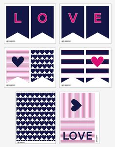 Preppy Navy Valentines Free Printable Decor     From pagingsupermom.com          Thank you for the beautiful collection!