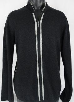 AGAVE Denim Full Zip Cardigan Sweater Cashmere Cotton Blend Men's Med Black Gray #AgaveDenim #Cardigan