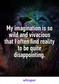 My imagination is soooo wild that I need a professional lion trainer to subdue it.