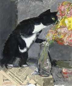 Ruskin Spear ~ The Curious Cat just like my boabs...