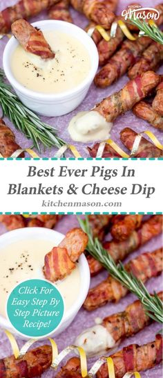 These Pigs In Blankets are the best EVER! Packed with flavour & complete with a creamy mustard cheese dipping sauce to dunk them in. Easy Main Course Recipes, Fun Easy Recipes, Easy Meals, Easy Snacks, Healthy Recipes, Mustard Dipping Sauce Recipe, Cheese Dipping Sauce, Christmas Dinner Plates, Christmas Cheese