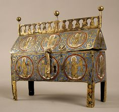 Chasse Date: 13th century Geography: Made in Limoges, France Culture: French Medium: Copper-gilt, champlevé enamel Dimensions: Overall: 7 1/16 x 8 1/16 x 3 1/16in. (18 x 20.4 x 7.7cm)