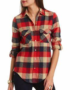 Plaid Flannel High-low shirt