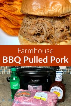 Our family makes Farmhouse Slow Cooker Pulled Pork recipe at least once a month! The best meals can be the easy meals! Four ingredients, pork shoulder, seasoning and pop in a crock pot for the entire day make one of our favorite meals, pulled pork. Add barbecue sauce for a great sandwich recipe to feed a crowd or meal prep for several family meals. Pulled Pork Recipe Slow Cooker, Pulled Pork Recipes, Easy Family Meals, Easy Meals, Simple Meals, Slow Cooker Desserts, Easy Party Food, Food For A Crowd, Crockpot Recipes