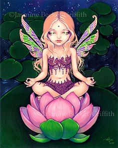 """Lotus Fairy"" SIGNED Glossy Photo Art Prints by Jasmine Becket-Griffith. Lotus Fairy - a little more ethereal than my usual works - probably inspired by a recent visit from my sister Kachina (who loves yoga)! Here is a fairy creature (looking very mystically enlightened and at peace) sitting in the traditional yoga Lotus position - also sitting upon a Lotus flower. The Lotus pool behind her is whispering away into the night sky as the lily pads are transformed into colourful stars."