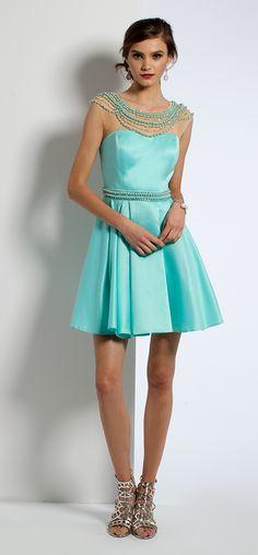 Short Pearl Neck Homecoming Dress #camillelavie
