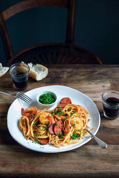 chorizo, prawn, + chili pasta