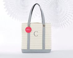 Silver Scallop Canvas Tote Bag - Personalization Available