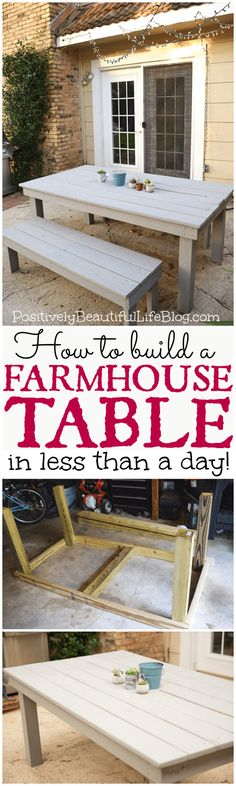 Plans of Woodworking Diy Projects - Easy DIY Farmhouse Table. Blue pints for benches. Get A Lifetime Of Project Ideas & Inspiration! Woodworking Projects Diy, Diy Wood Projects, Furniture Projects, Furniture Plans, Home Projects, Diy Furniture, Woodworking Plans, Outdoor Furniture, Farmhouse Furniture