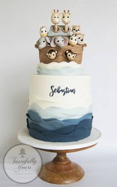 baby boy birthday party A much loved bible story of Noahs Ark was the theme for little Sebastians Baptism. I loved creating this special topper of all the different animal couples as they sailed the seas to a new beginning. Christening Themes, Christening Cake Boy, Baby Boy Baptism, Baptism Themes, Baptism Cakes, Cake For Baptism Boy, Simple Baptism Cake, Baptism Food, Baptism Ideas