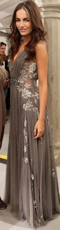 Grey gown - Alberta Ferretti Camilla Belle is Fabulous! Beautiful Gowns, Beautiful Outfits, Gorgeous Dress, Beautiful Clothes, Gorgeous Hair, Dead Gorgeous, Stunning Dresses, Pretty Clothes, Camilla Belle