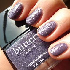 Butter London - No More Waity, Katie. Named for Kate Middleton, this is a greige shade with lilac glitter. I don't own many glitter polishes mainly because I don't wear them often but this one is so pretty and elegant.The formulation could be better, its really difficult to work with.