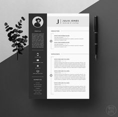 "Resume Template / CV Template + Cover Letter for Word + Icons ( 3 page pack ) | Instant Digital Download | The ""Noir"""