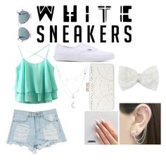 """White Sneakers"" by giesellachirichigno ❤ liked on Polyvore featuring BCBGMAXAZRIA, Cutler and Gross, Otis Jaxon, Vans, Charlotte Russe and Decree"