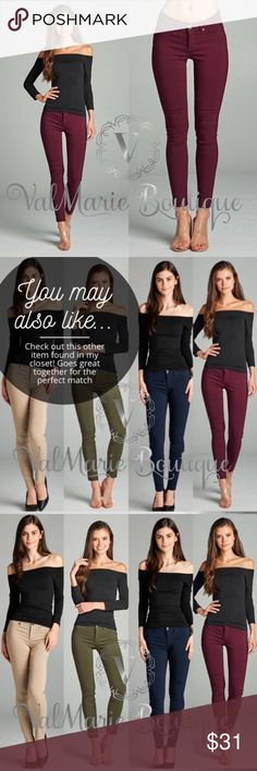 """BURGUNDY MEGA STRETCHY PANTS Stretch your way into comfort in these stretchy pants. Functional back pockets, zippered fly with front button closure, front pockets non functional. So amazingly comfortable. 74% rayon, 22% nylon, 4% spandex. Approx inseam: S 28"""" M 28.5"""" L 29"""". Waist laying flat (they stretch bigger when on) - S 13.25"""" M 14"""" L 14.5"""". I have all four colors. Check other listings. Price firm. ValMarie Pants"""