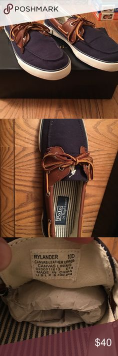 Polo by Ralph Lauren - Men's Size 10D Comfortable and Stylish. Perfect for those summer walks on the boardwalk.  Polo by Ralph Lauren Boat Shoes in Men's Size 10D Navy Blue with Brown Leather (White/Navy Striped interior) Polo by Ralph Lauren Shoes Boat Shoes