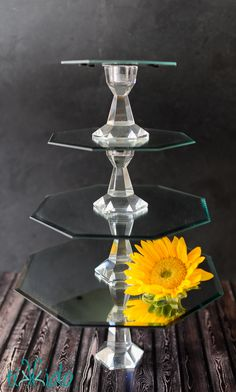 How to Make Mirrored Cake Stands with Interchangeable Variable Height Bases:  Mirrors in graduated sizes. I used 12, 10, 8, and 6 inch diameter sizes. Candlesticks (in two different heights) E6000 glue super strong magnets Fimo dough, in white or silver