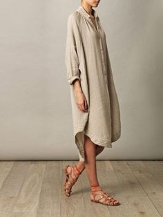 Buy Summer Dresses For Women at JustFashionNow. Online Shopping JustFashionNow Plus Size Stand Collar Khaki Women Summer Dress High Low Daily Dress Half Sleeve Casual Chiffon Solid Dress, The Best Daily Summer Dresses. Discover unique designers fashion at Mode Style, Style Me, Vestido Casual, Oversized Dress, Inspiration Mode, Street Style, Linen Dresses, Linen Shirt Dress, Dresses Dresses