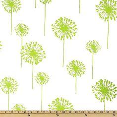 Green Dandelion Premier Home Decorator Fabric by onasmallscale, $4.00