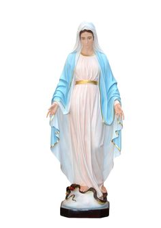Our Lady of Grace statue, height 180 cm. in fiberglass, hand painted with acrylic colors and trim with oil colors, available with glass eyes. Made in Italy