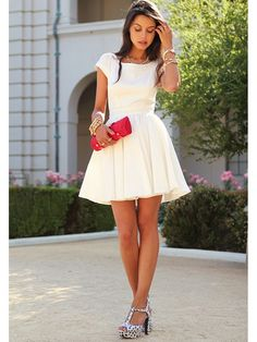 Elegant & Awesome White Princess Short Cocktail Dresses from PromWill!!