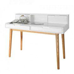 Eckschreibtisch weiß matt  Schreibtisch in matt weiß mit Beinen in Buche massiv und 2 ...