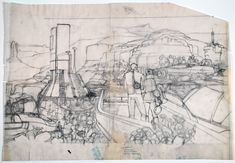 Syd Mead Grand Canyon Future City: original overlay drawing   eBay