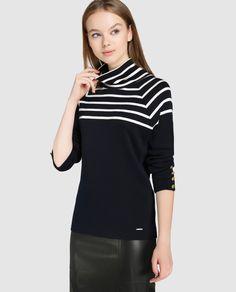 Jersey de mujer Tintoretto con estampado de rayas y cuello cisne. 50% algodón 50% lana