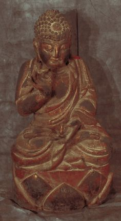 Asian Decor: Carved Wooden Buddha Statue from Hebei, China
