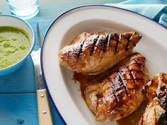Grilled Honey-Glazed Chicken with Green Pea and Mint Sauce : Bobby uses a simple honey and balsamic glaze to flavor grilled chicken breasts, and then keeps things extra seasonal and colorful with a green pea and mint sauce.