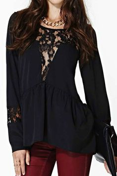 abaday Asymmetric Cut-out Lace Embroidered Black Blouse - Fashion Clothing, Latest Street Fashion At Abaday.com